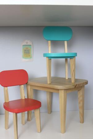Bord och stolar, turkos/korall